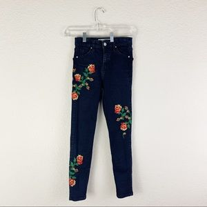 Topshop Jeans - Topshop Jamie High Waist Embroidered Skinny Jeans